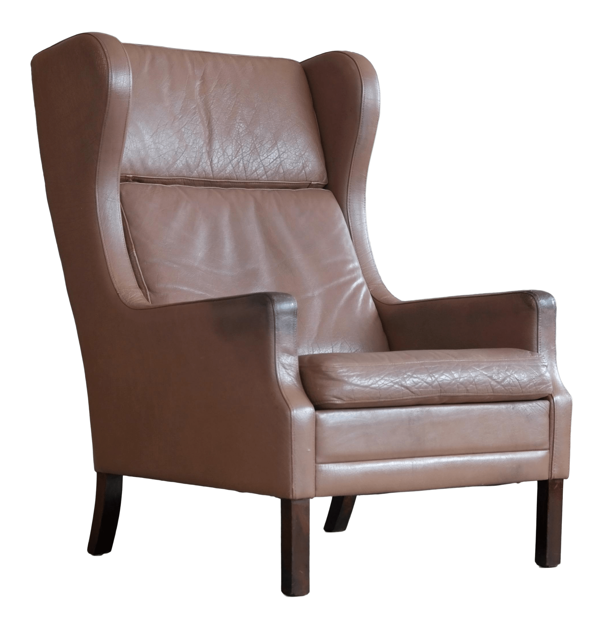 Brown Leather Wingback Chair Borge Mogensen Style Leather Wingback Chair