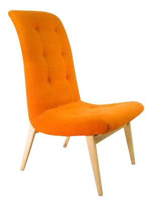 orange side chair japanese table and chairs norman bel geddes mid century modern chairish for sale