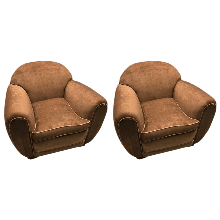 art deco style club chairs black chaise lounge chair exceptional macassar a pair decaso for sale