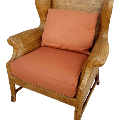 Rattan Wingback Chairs Real Electric Chair Execution Pictures Vintage Used Chairish Baker Furniture