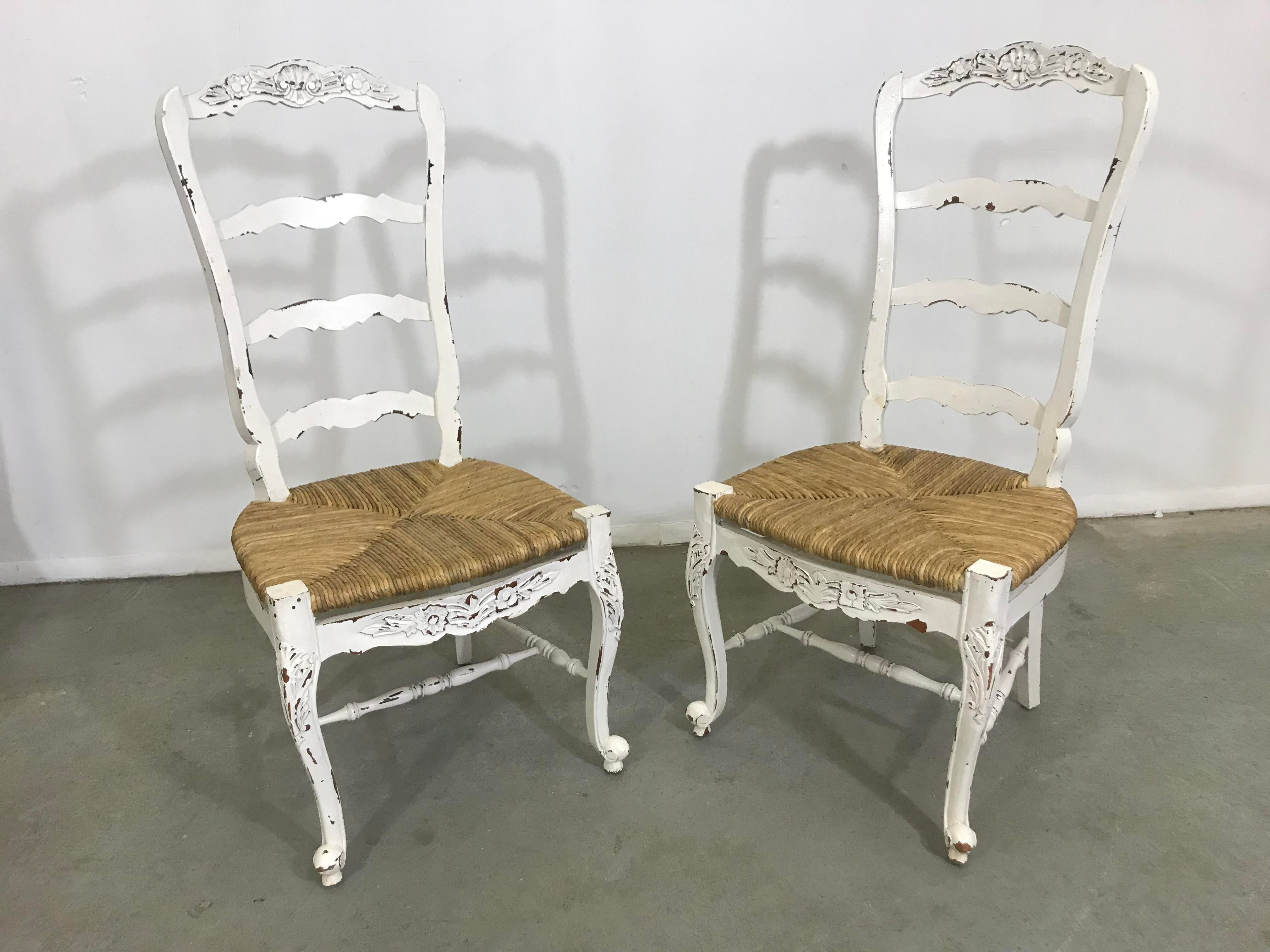 white ladder back chairs rush seats black rocking cracker barrel pair of french country carved 4 rung seat ladderback dining