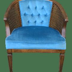 Mid Century Modern Cane Barrel Chairs Swivel Chair Carpet Blue Velvet Tufted Back Chairish For Sale