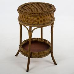 Heywood Wakefield Wicker Chairs Chair Covers Holiday 1900s Victorian Sewing Stand Side Table For Sale Image 13 Of