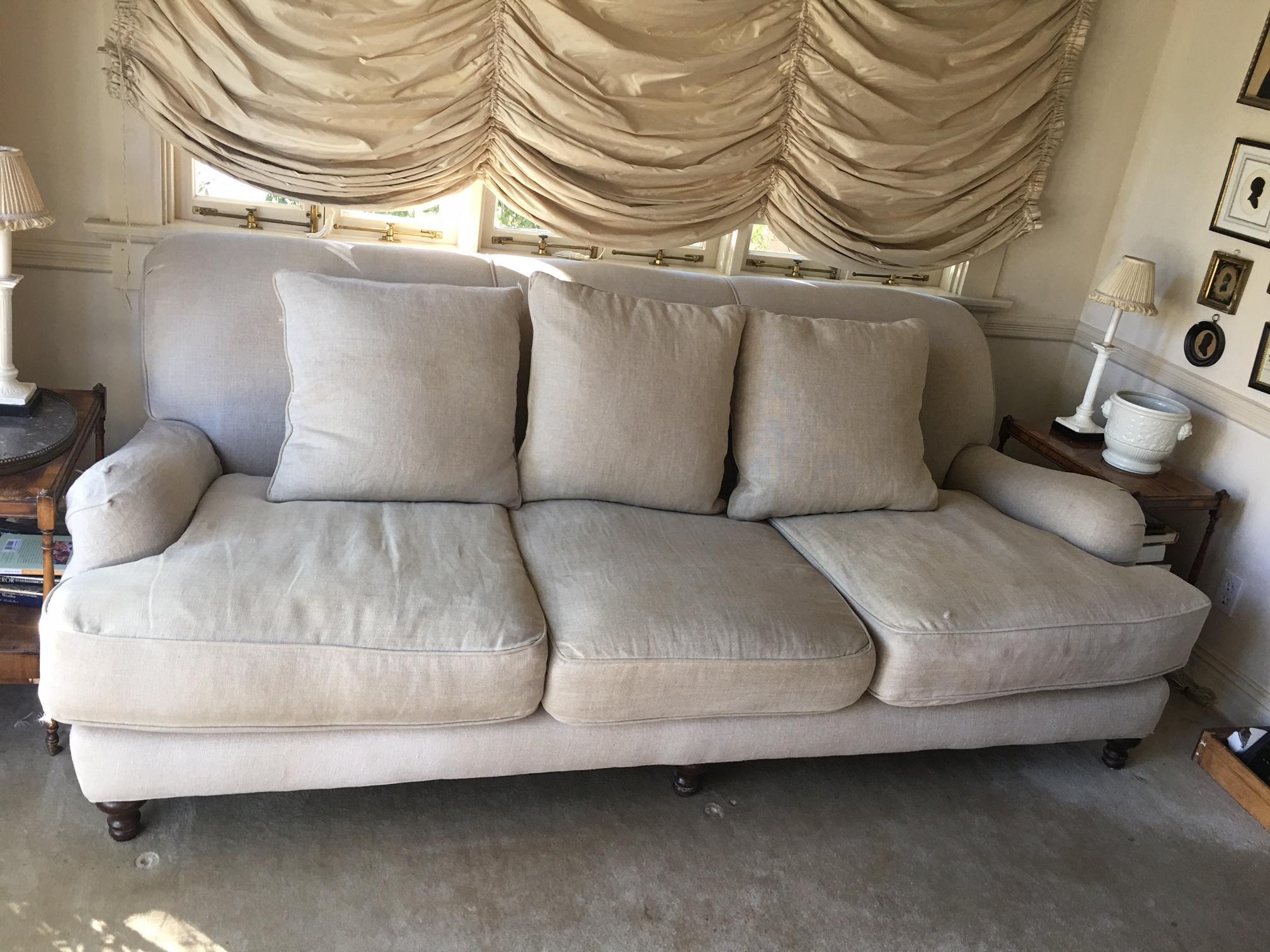 restoration hardware sectional sofa linen venetian worldwide mancora microfiber futon bed in espresso camel sand english roll arm chairish contemporary for sale image 3 of 5