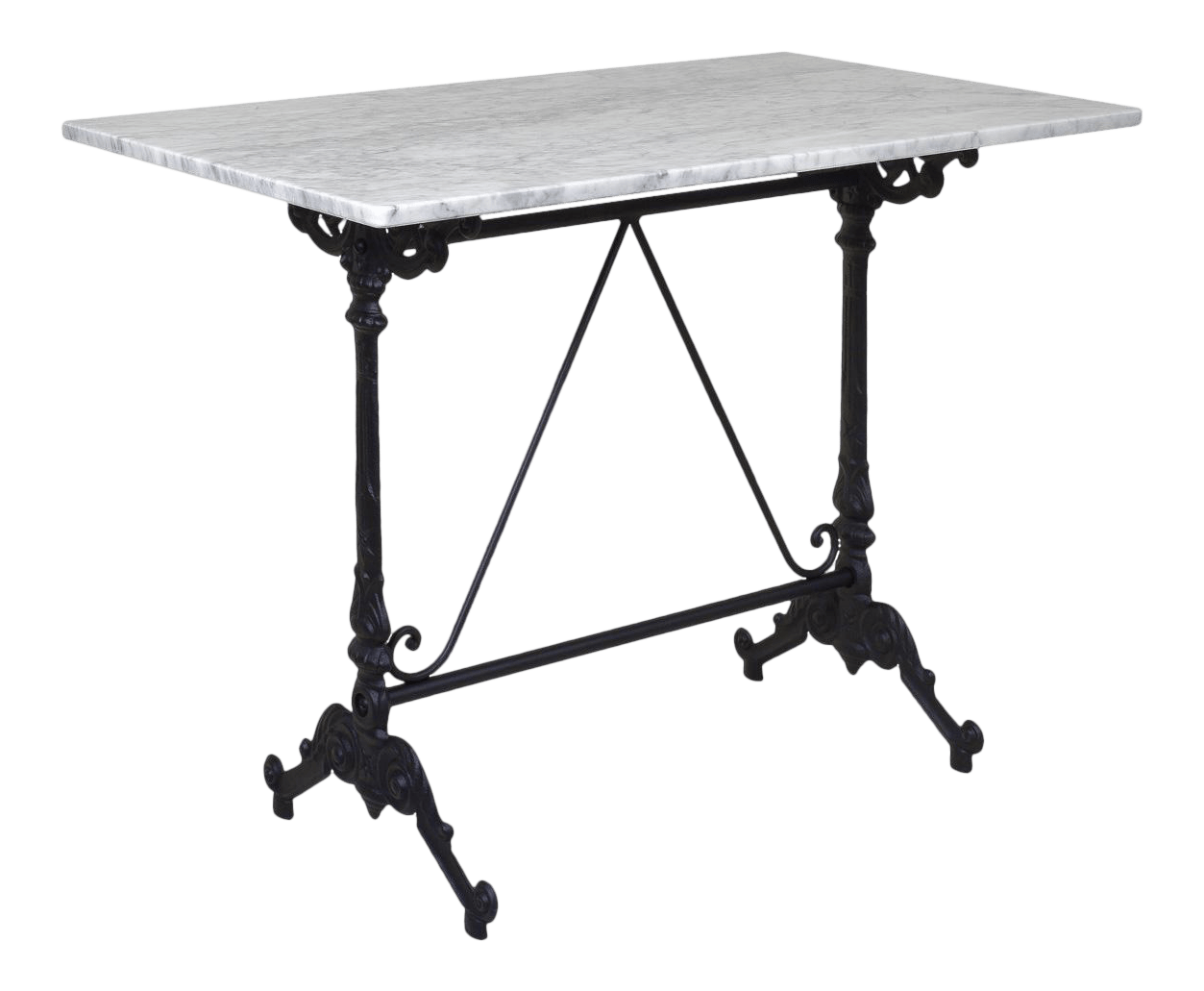 french style bistro table with cast iron base white marble top rectangular