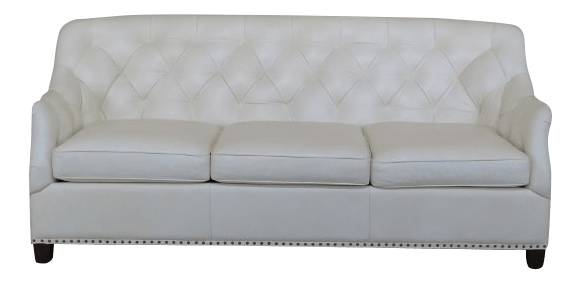 white tufted leather sofa really big sectional sofas hancock moore chairish