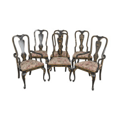 Drexel Heritage Chairs Valkönen Hanging Chair Set Of 6 Black Lacquer Chinoiserie Painted Dining For Sale