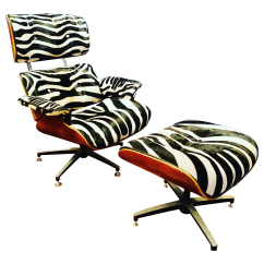 Hair On Hide Office Chair Santa Hat Covers Australia Modern Custom Zebra Eames Style Lounge And Ottoman Chairish For Sale