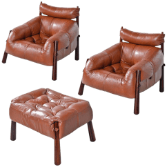 Leather Chair Ottoman Camping World Chairs Vintage Used And Sets Chairish Percival Lafer Mp 81 Brazilian Rosewood Lounge Set For Sale