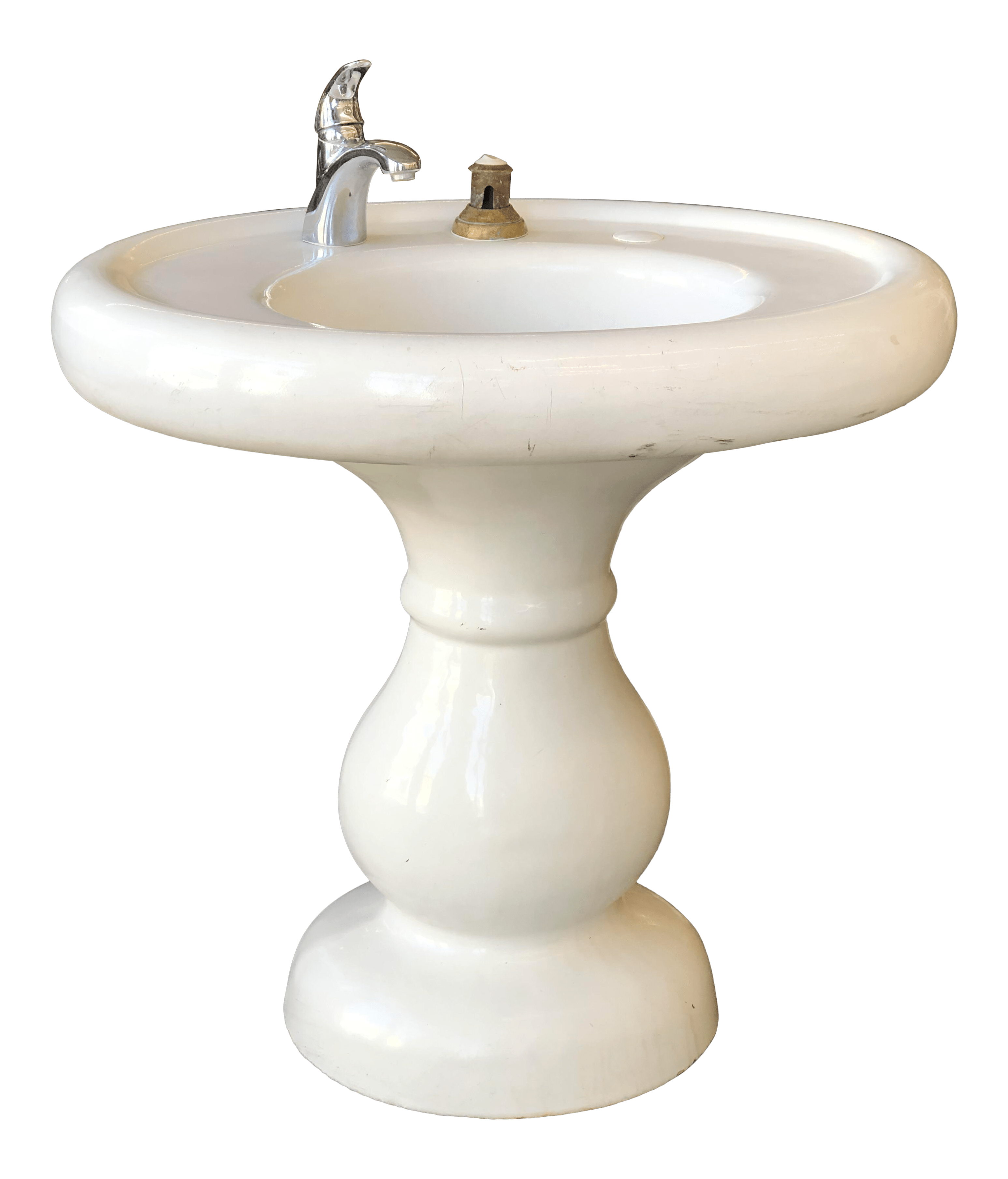 early 20th century vintage maewest style cast iron pedestal sink