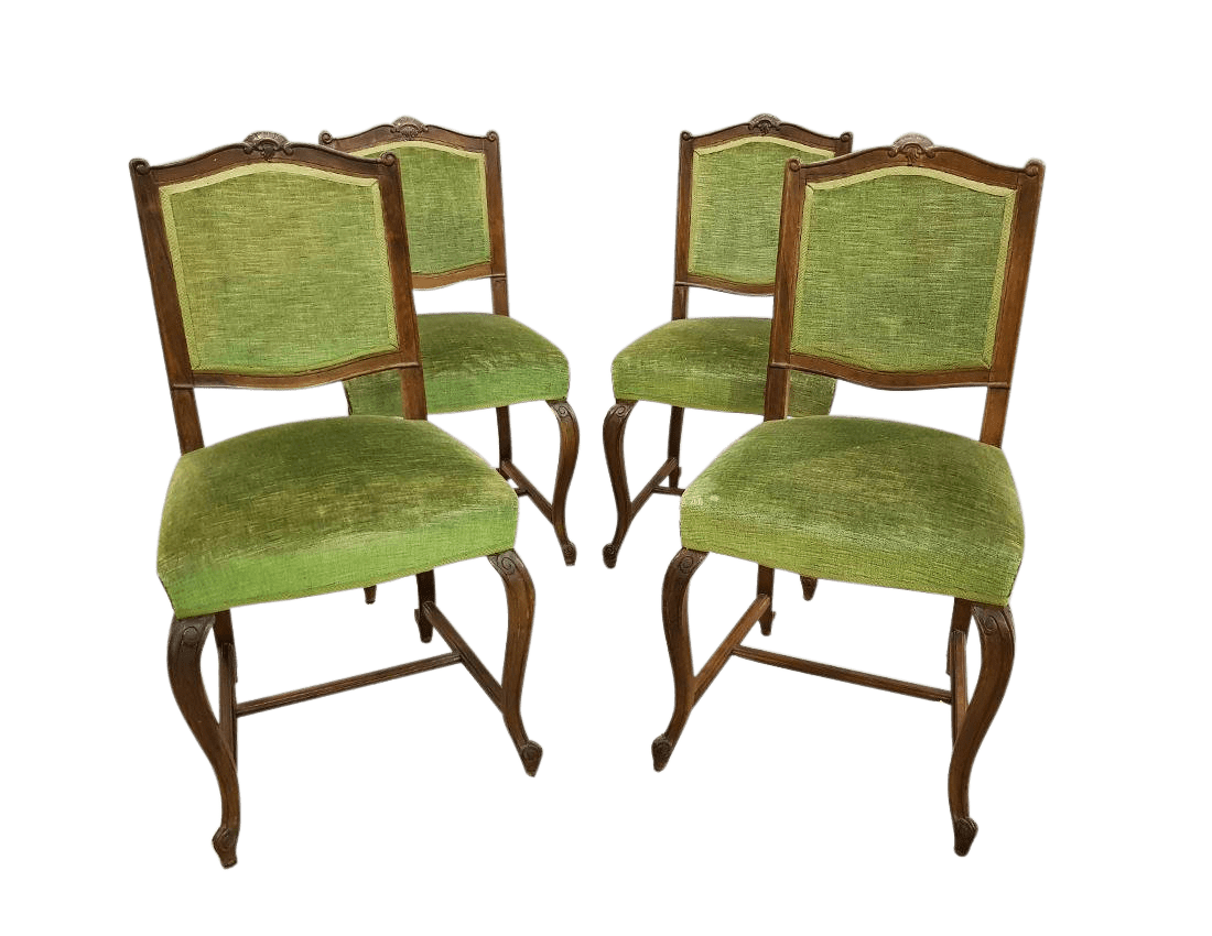 vintage wooden dining chairs wedding chair cover hire basingstoke used oak chairish set of four antique french square back original green velvet upholstery cabriole legs