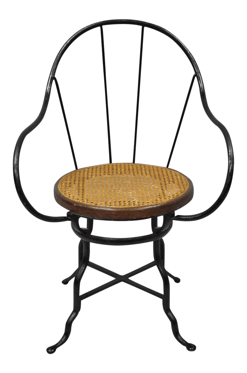 bentwood cane seat chairs high chair tulle skirt antique thonet attr industrial wrought iron round arm for sale