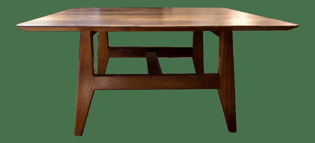 mid century jens risom square walnut coffee table 1960 s