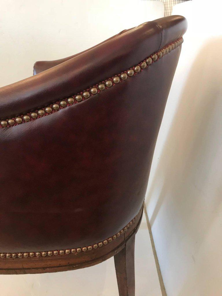 tub chair brown leather back app vintage english barrel chairish animal skin for sale image 7 of 11