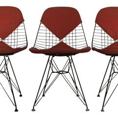 Black Wire Chair Papasan Frame World Market Eames Dkr Chairs Set Of 3 Chairish For Sale
