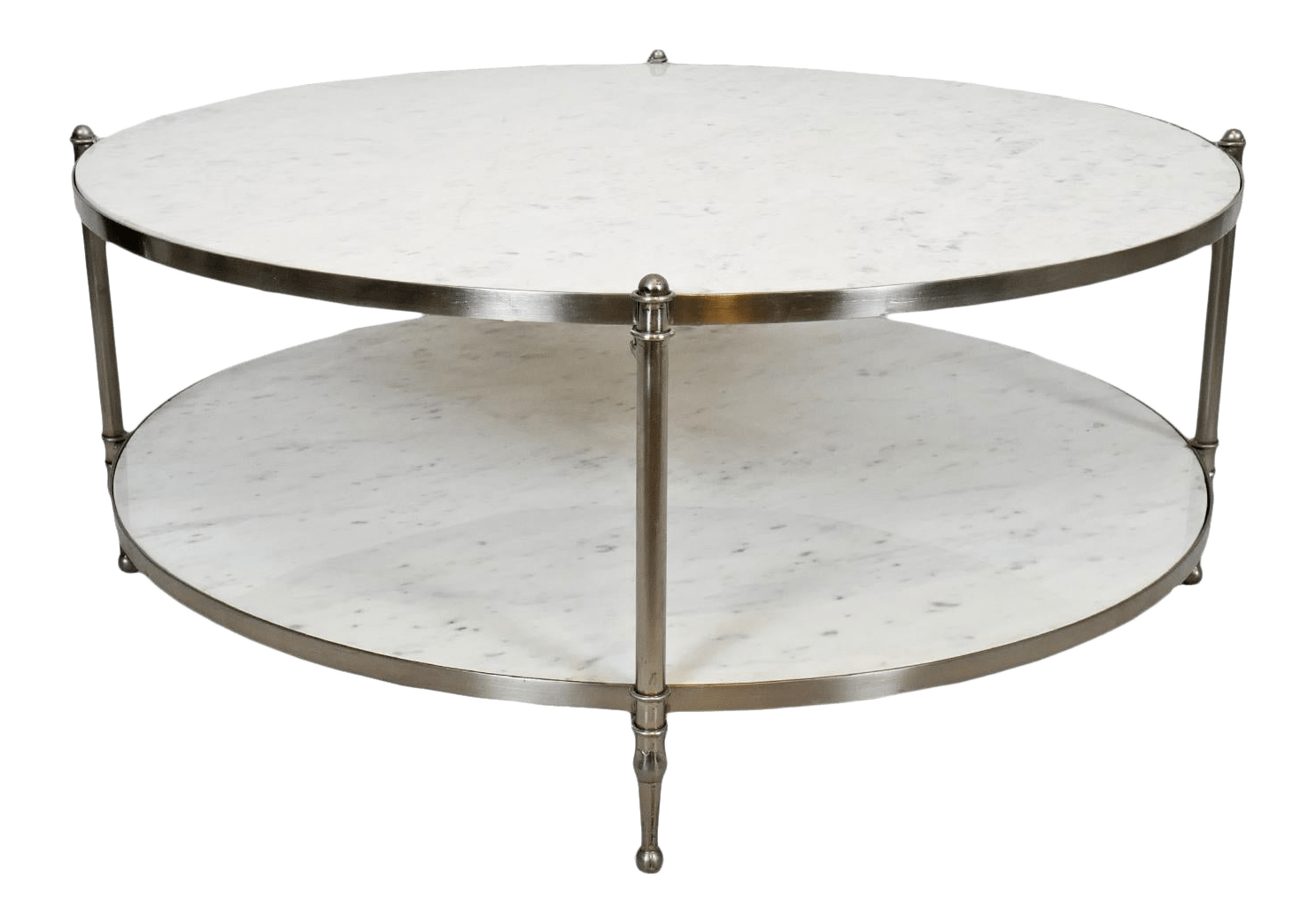 modern round white marble nickel coffee table