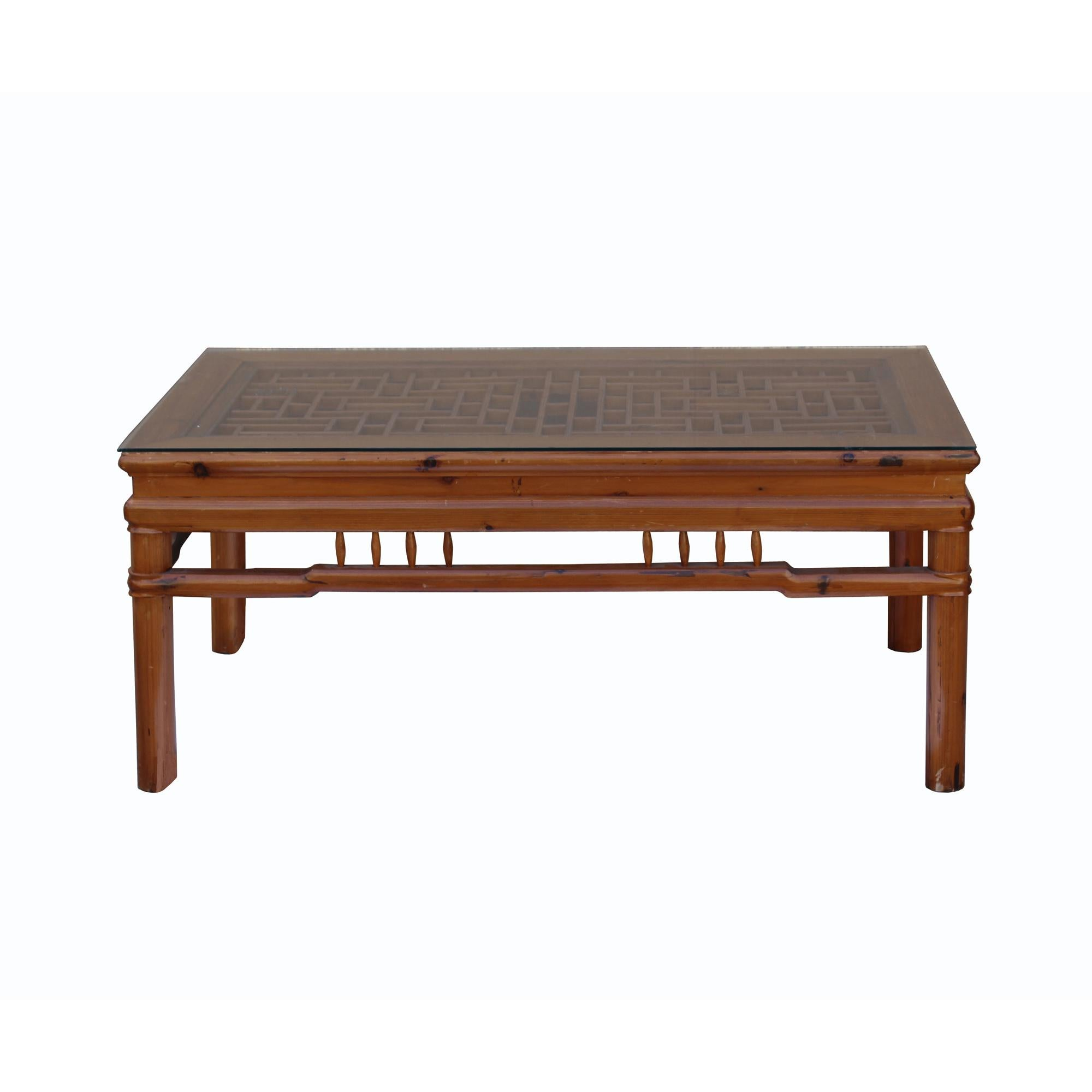 rectangular glass top coffee table with chinese old windows panel design