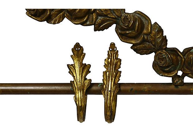 antique french bronze curtain rod w rings