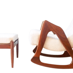 Adrian Pearsall Rocking Chair Desk No Wheels Arms Superior And Stool 1960s Decaso For Sale