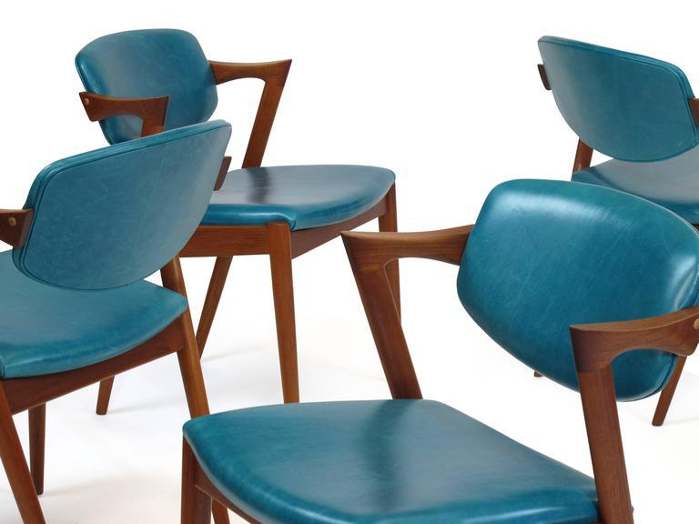 turquoise chairs leather lumbar support for chair lovely six kai kristiansen teak danish dining in 20 available