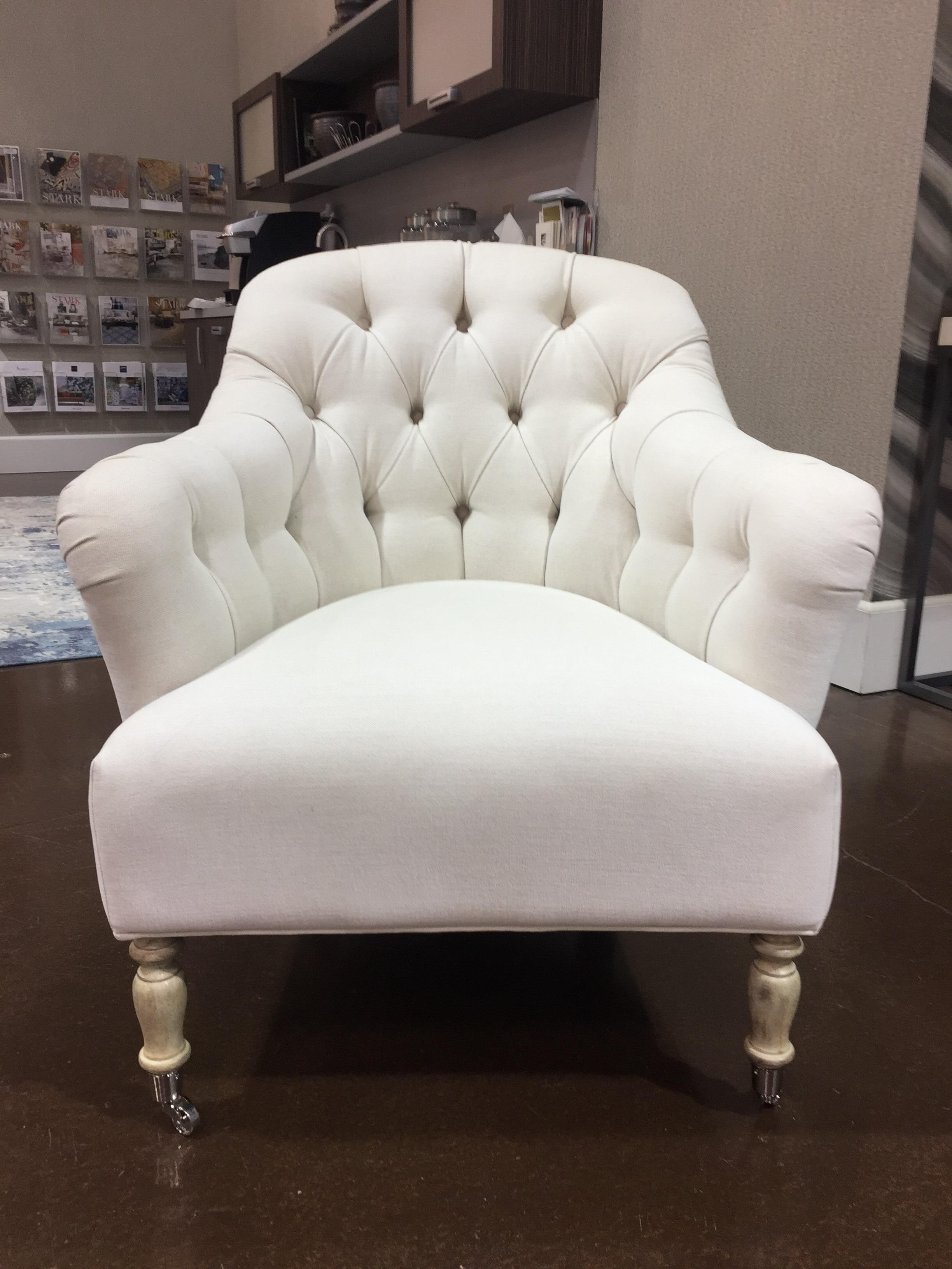 white tufted chair roll in shower traditional clarendon chairish textile for sale image 7 of