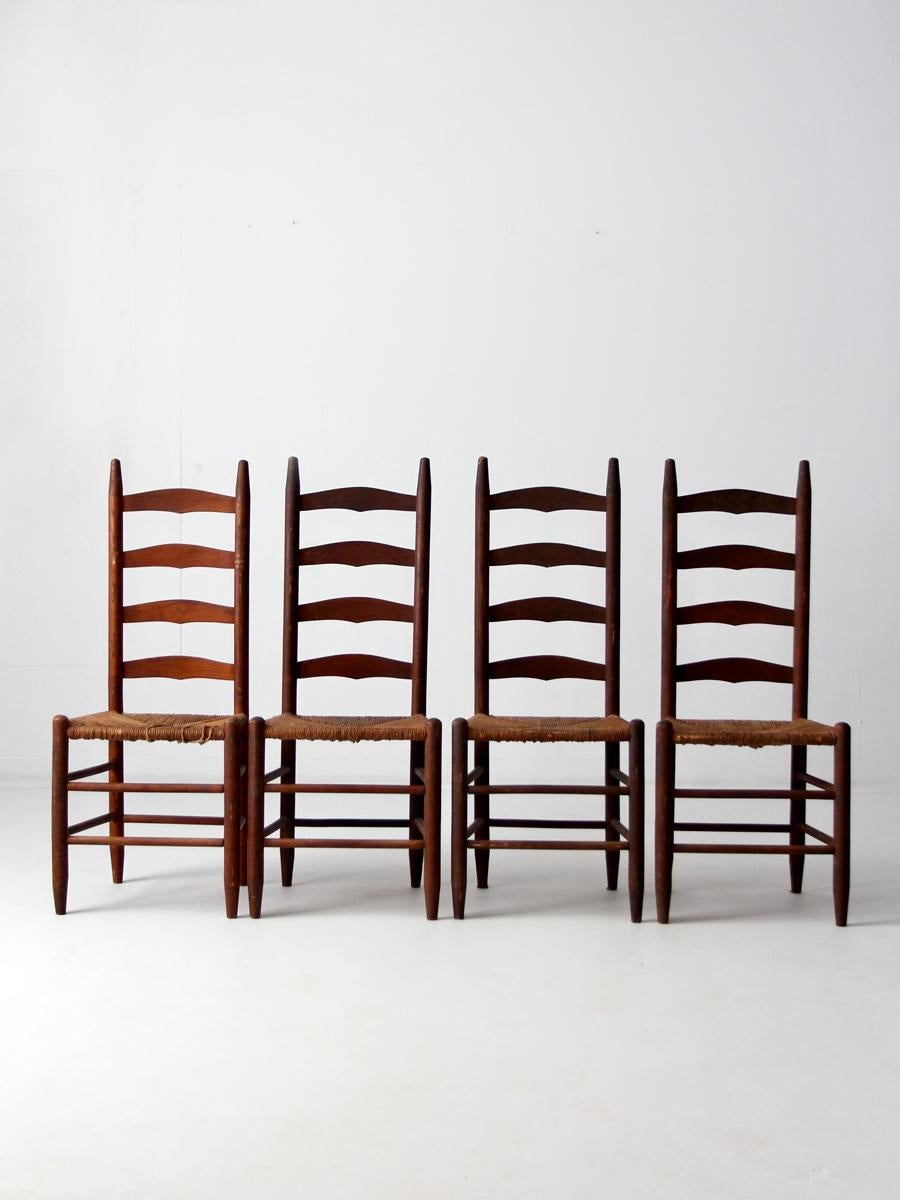 white ladder back chairs rush seats hanging lawn chair antique dining - set of 4 | chairish