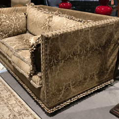 Brocade Sofa Fabric Linen Chesterfield Boho Chic Down Filled Tassel Chairish It Features Velvet Tone On Gold Damask