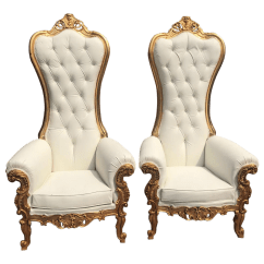 White Tufted Chairs Ergonomic Chair To Buy Modern Italian Baroque Style Throne A Pair For Sale