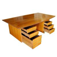 Mid-Century Mahogany Executive Desk With Brass Pulls ...