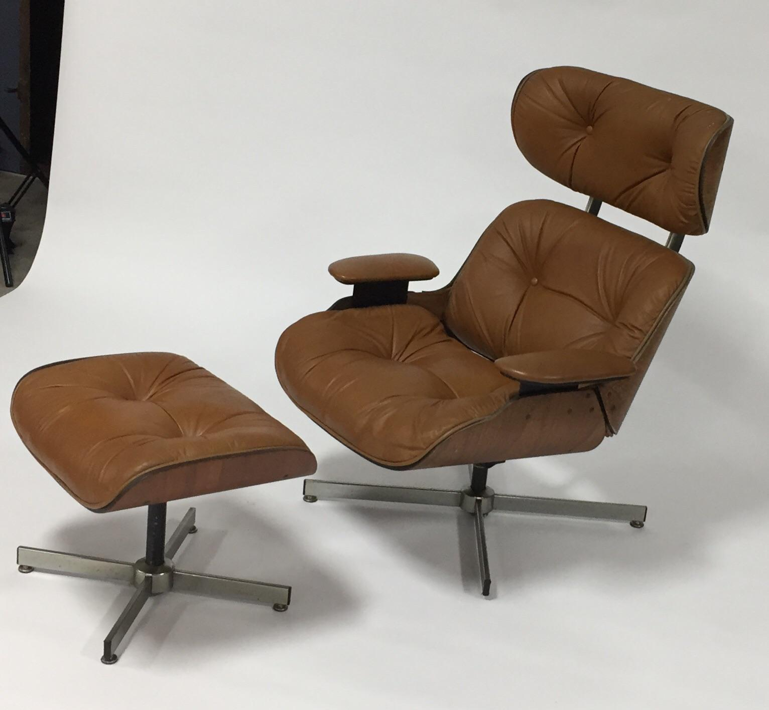 selig eames chair pink nursery rocking mid century modern style lounge ottoman set midcentury molded plywood with leather and by circa 1970s