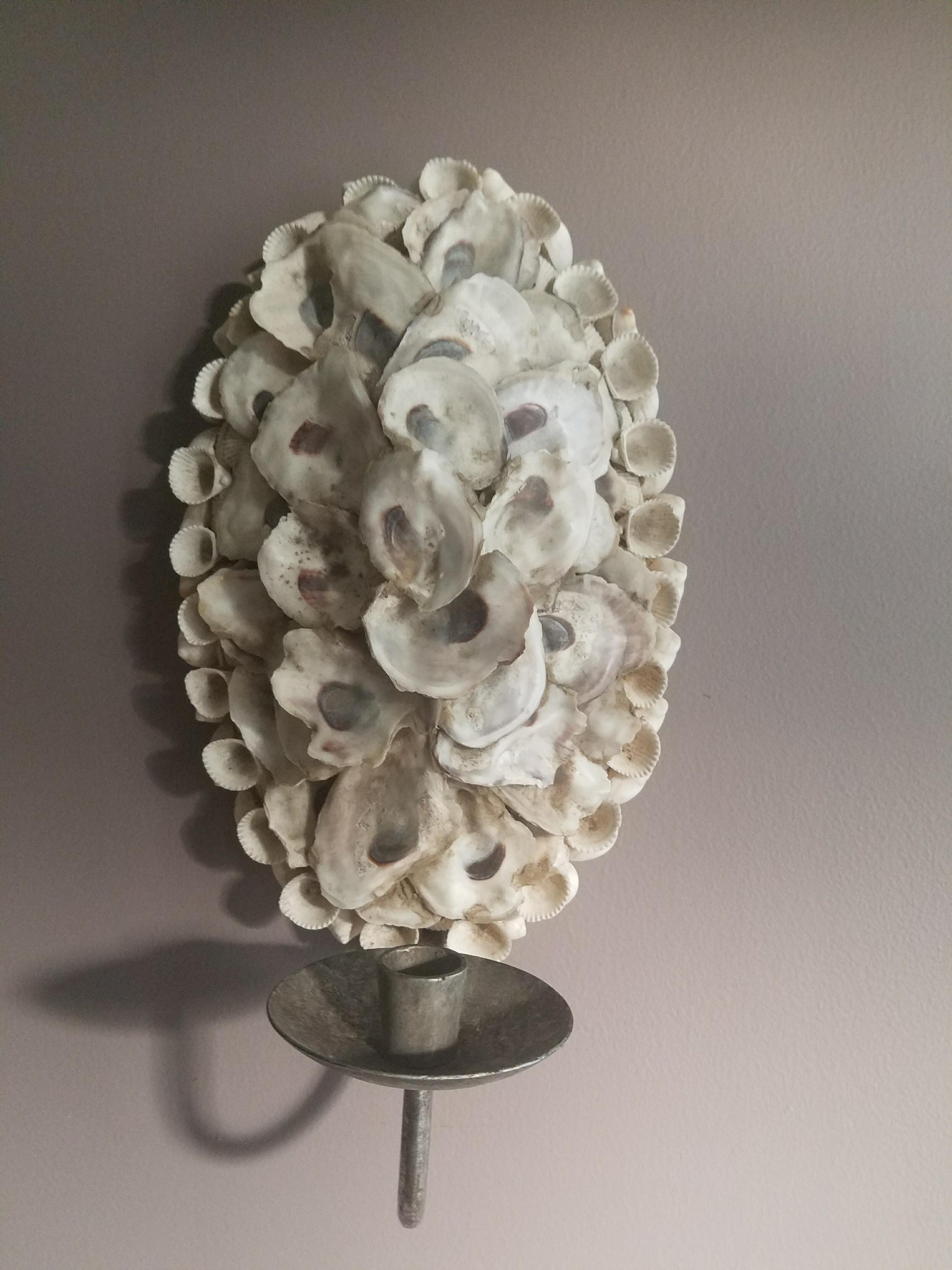 Nautical Beachy Shell Encrusted Candle Wall Sconce Chairish