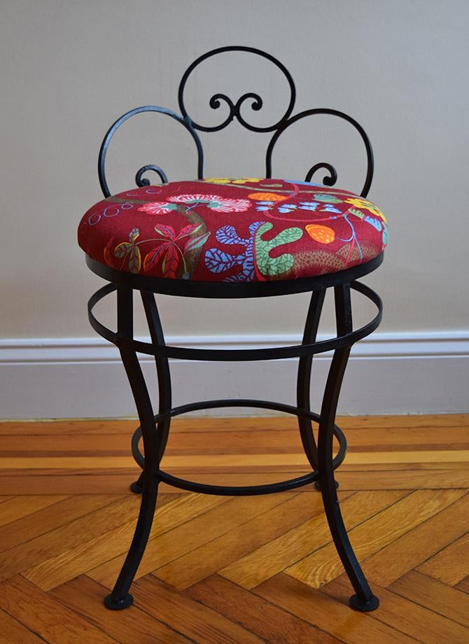 wrought iron chair factory covers 1950s mid century modern josef frank fabric upholstered this cute little vintage vanity side has been refurbished with new black paint