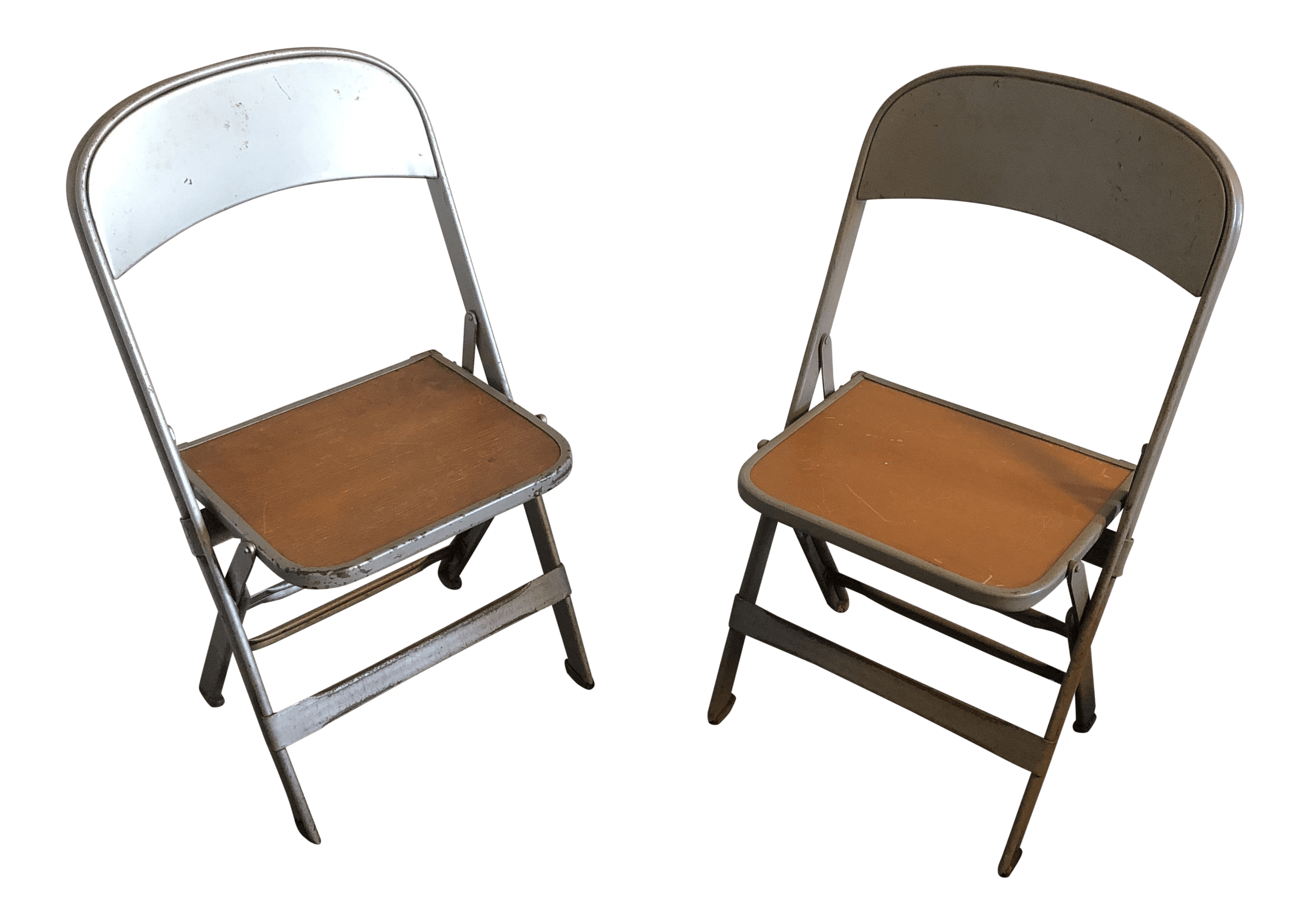 industrial metal chairs hot pink accent vintage used dining chairish 1950s children s folding a pair