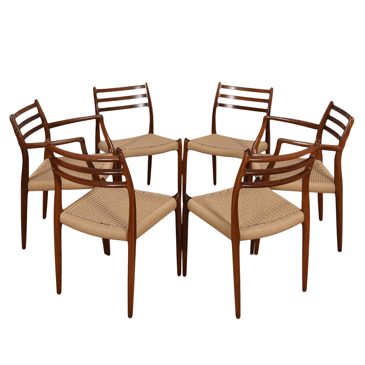 danish modern dining chair personalized rocking for baby set of 6 chairs by niels moller in rosewood with cord seats