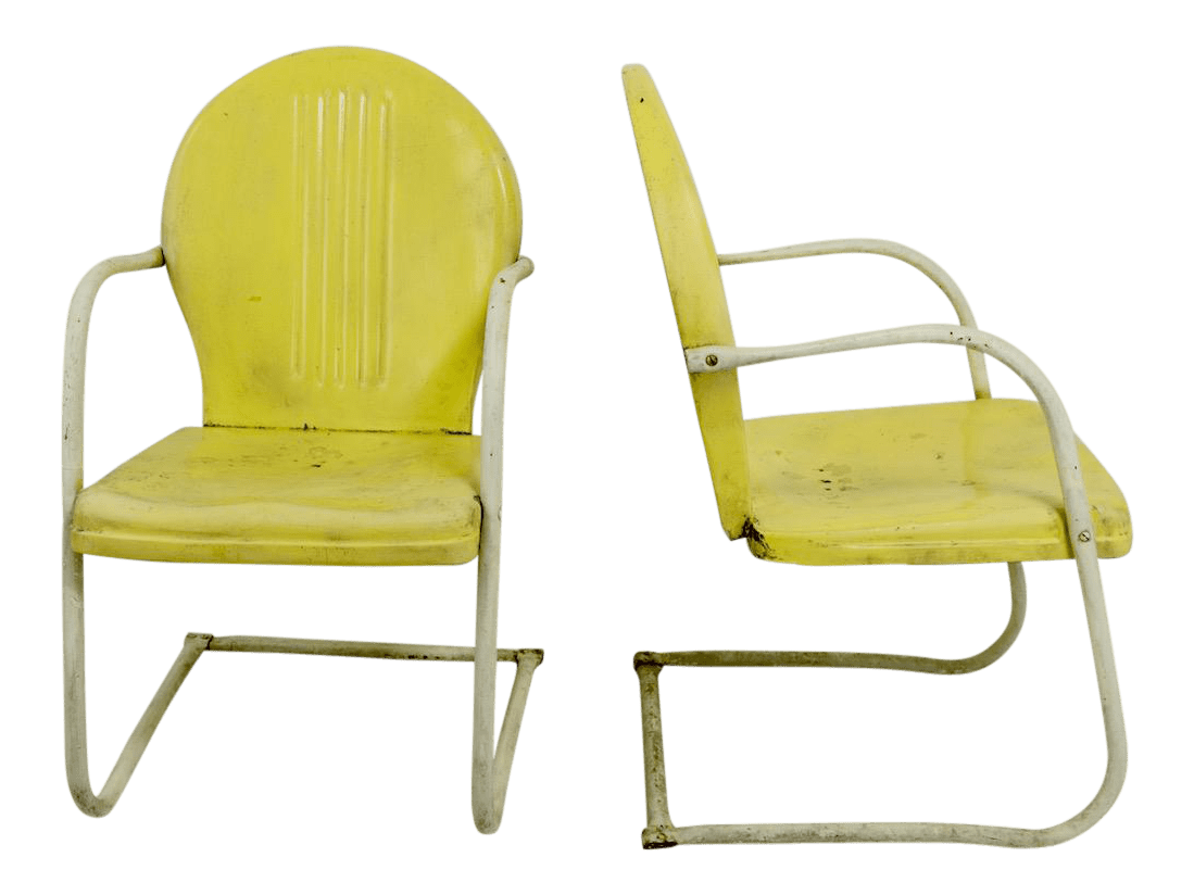 metal lawn garden patio chairs by shott in yellow a pair
