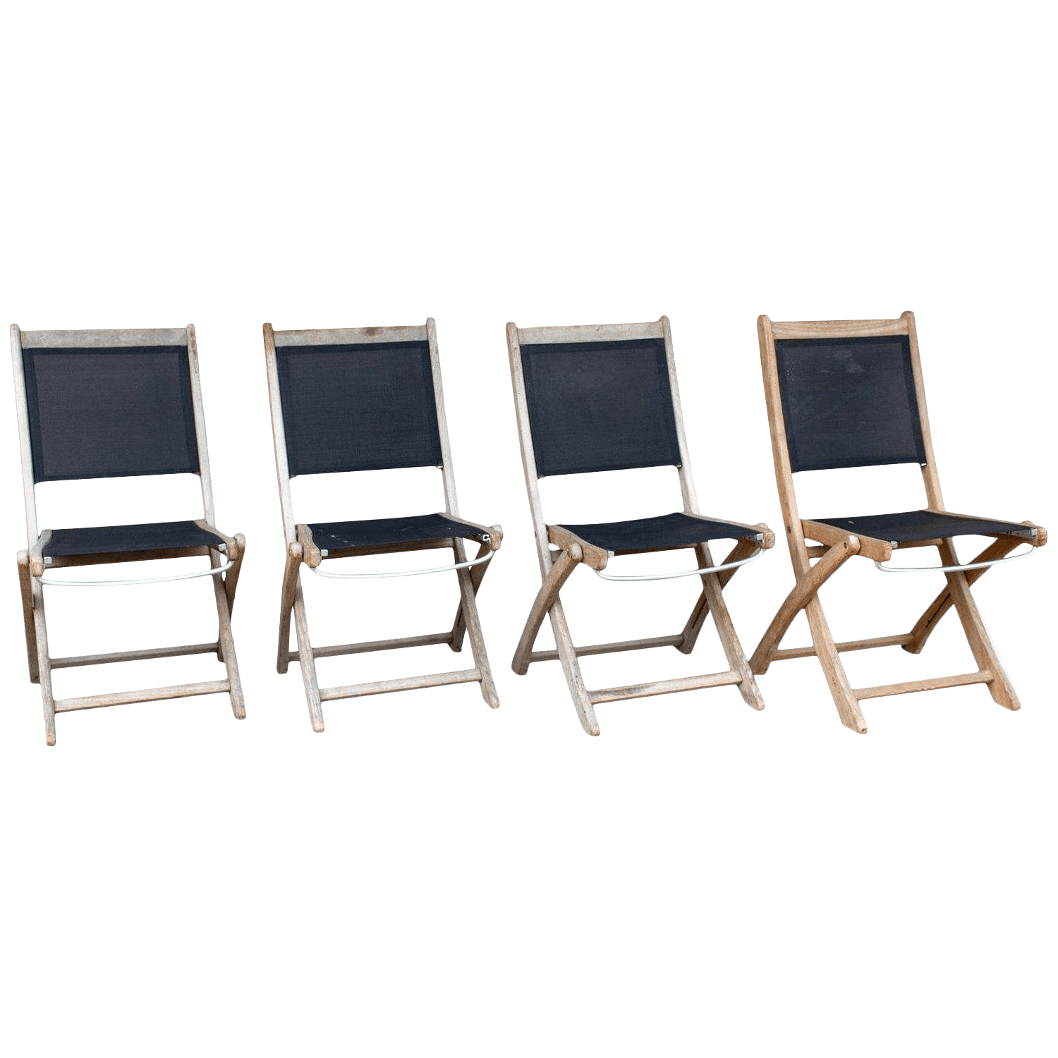 folding chair nylon ball office vintage french teak and outdoor chairs set of 4