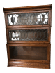 Antique Globe Wernicke Leaded Glass Door Oak Barrister Bookcase