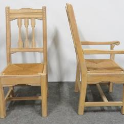 Rush Seat Chairs 50 S Diner Table And South Western Style Pine Carved Set Of 8 Chairish Sothern Dining Hand Frames With White
