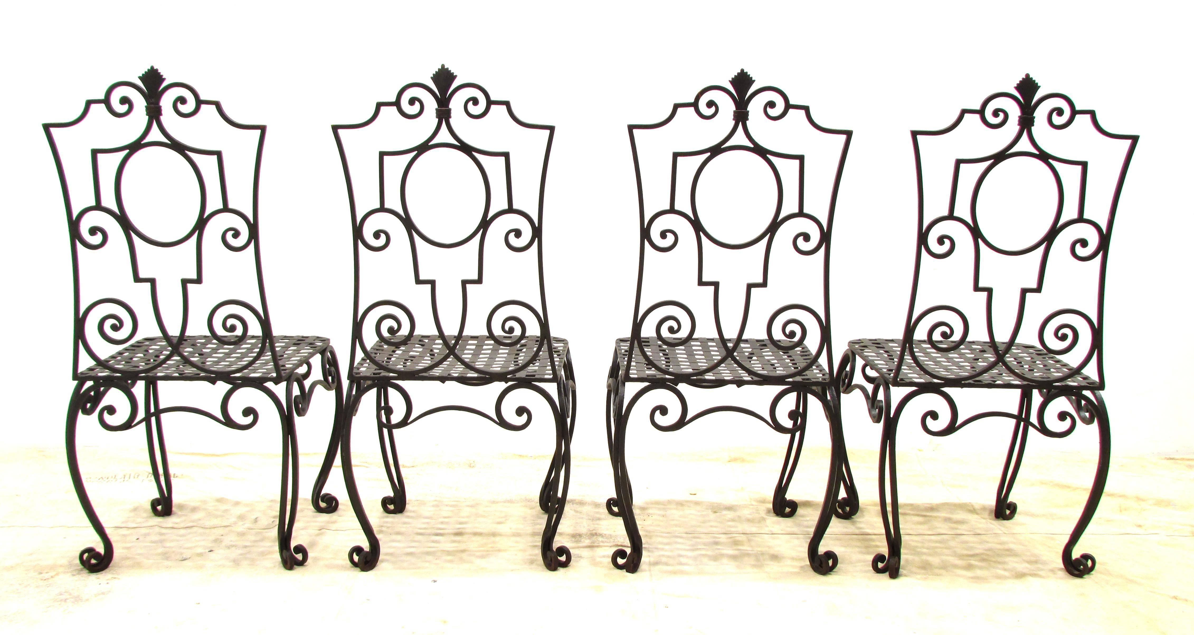 wrought iron chair in pool lounge chairs jean charles moreux style set of 4 chairish four handmade the
