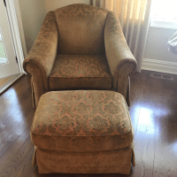 Thomasville Chenille Club Chair & Ottoman | Chairish