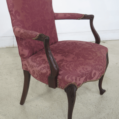 Hickory Chair Co Or Stool Queen Anne Mahogany Damask Armchair Chairish For Sale Image 5 Of 13