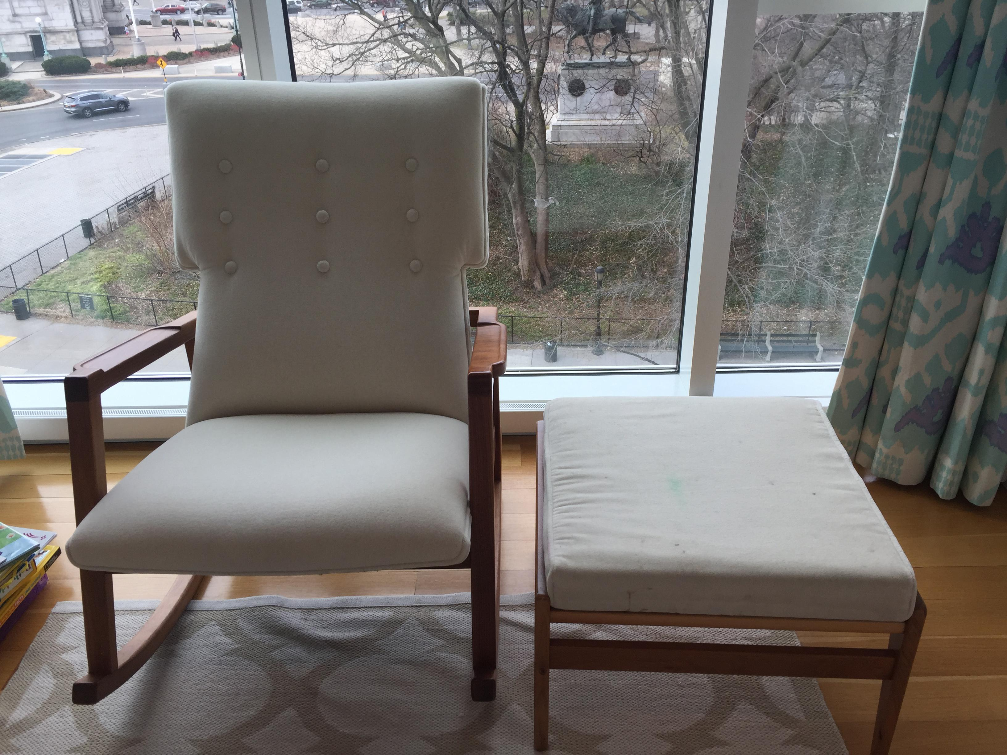 jens chair design within reach white ladder back risom rocker and ottoman chairish this is a rocking set the looks brand new mid century modern