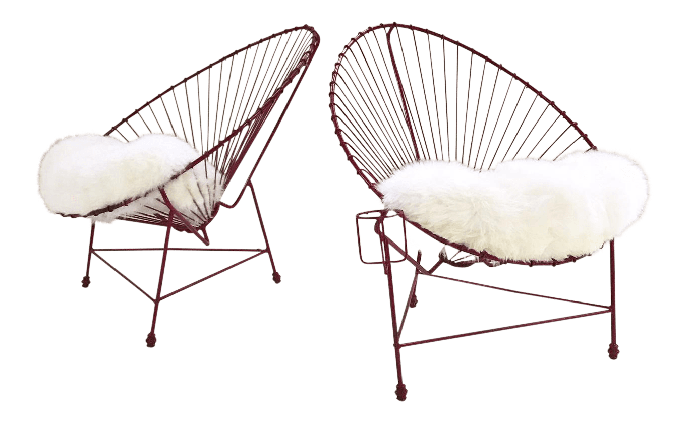 metal papasan chair west elm outdoor cushions vintage red chairs with custom sheepskin a pair for sale