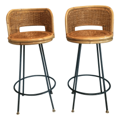 Seng Chicago Chair Pink Beauty Salon Chairs Vintage Of Wicker Iron Stools A Pair Chairish For Sale