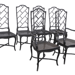 Chippendale Dining Chair Compact Desk Set Of 6 Tall Back Faux Bamboo Black Chinese Chairs Chairish