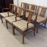 Mid-Century Modern Walnut Low Back Dining Chairs - Set of ...