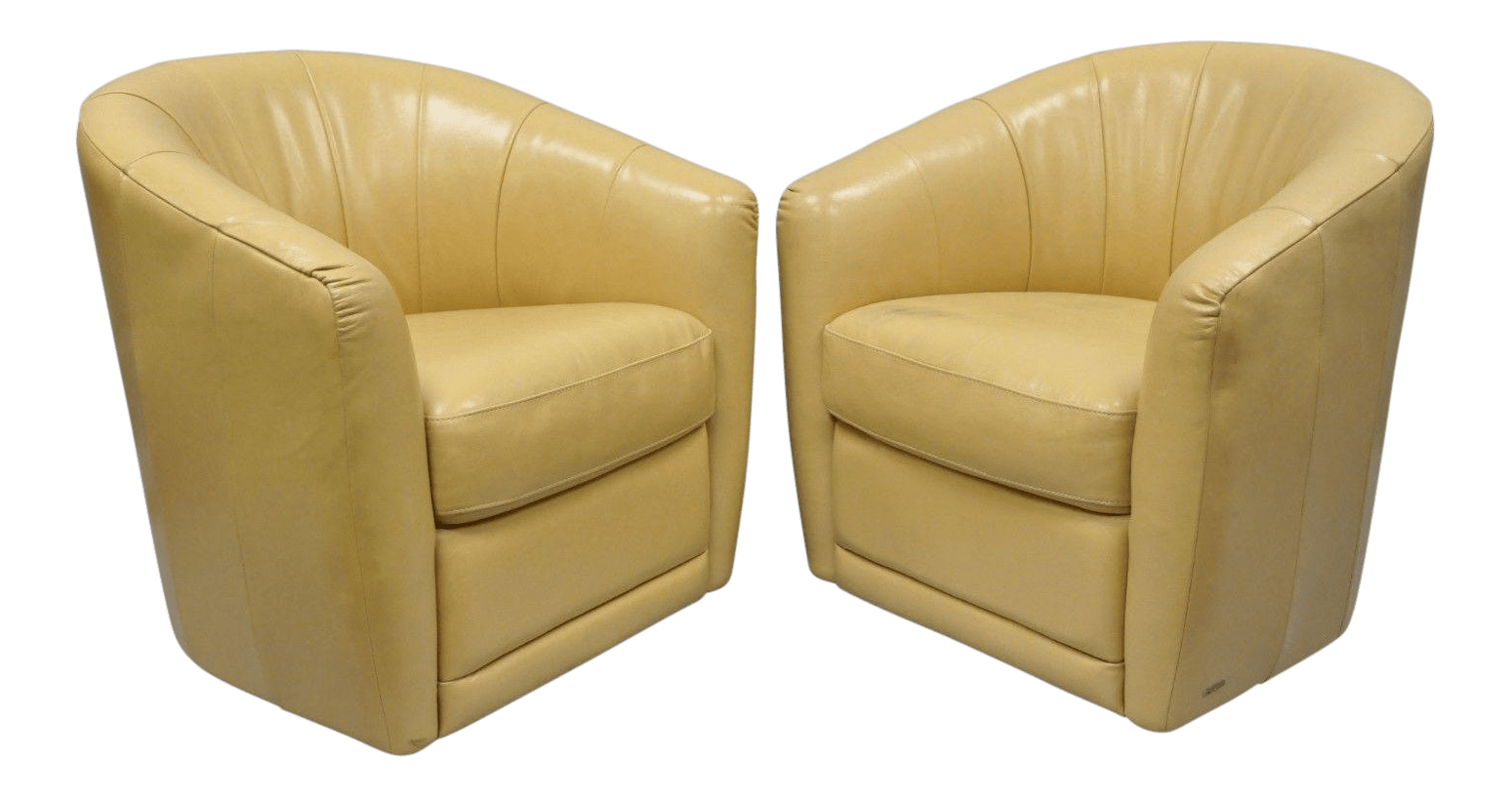 natuzzi swivel chair steel cad block leather barrel back chairs a pair chairish for sale