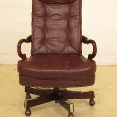 Antique Mahogany Office Chair 2 Seater Love 1990s Vintage Classic Leather Tufted Desk For Sale Image 12 Of