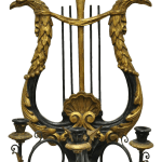 Vintage Italian Regency Griffin Harp Black Gold Gilt Wood Candle Holder Wall Sconce Chairish