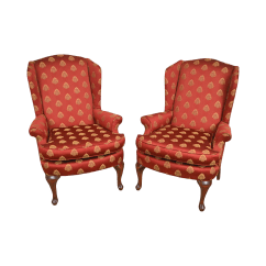 Queen Ann Chairs Roman Chair Back Extension Muscles Vintage Used Anne Wingback Chairish Style Red Gold Pineapple Upholstered Pair Of Wing
